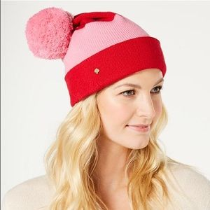 NWT! Kate Spade color block puff beanie hat